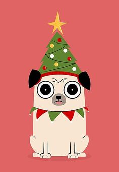 'It's Christmas for Pug's sake' Poster by cartoonbeing Cartoon Christmas Tree, Pug Christmas, Christmas Cartoons, Funny Christmas Shirts, Christmas Drawing, Christmas Paintings, Christmas Crafts, Christmas Decorations, Christmas Ornaments