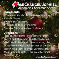ARCHANGEL JOPHIEL AROMATIC CHRISTMAS SACHET. Beautify the room with the fragrance of the holiday season; hang on Christmas Tree. #Archangel Jophiel www.DarPayment.com