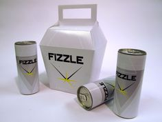 Fizzle energy drink design: box and can labels