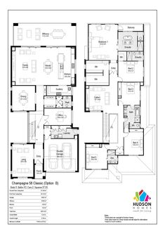 Champagne 58 by Hudson Homes Family House Plans, Dream House Plans, House Floor Plans, Floor Plans 2 Story, 5 Bedroom House, House Rooms, Double Storey House Plans, Hudson Homes, Home Design Floor Plans