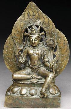 11th century, Himachal Pradesh, bodhisattva Avalokiteshvara Padmapani, Kashmir style, copper alloy, at Ashmolean Museum (Oxford, UK)