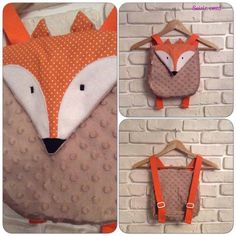 sac à dos renard Baby Couture, Couture Sewing, Sewing For Kids, Baby Sewing, Mochila Tutorial, Costura Diy, Fox Crafts, Fox Bag, Fox Decor