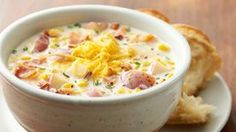 Slow-Cooker Bacon Corn Chowder: Hearty and creamy, this classic corn and potato soup gets extra oomph from our favorite ingredient -- bacon. It only takes a few minutes to pull together, and then the slow cooker will do all the work. Slow Cooker Bacon, Crock Pot Slow Cooker, Crock Pot Cooking, Slow Cooker Recipes, Crockpot Recipes, Cooking Recipes, Cooking Pork, Korma, Biryani