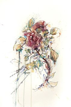 The Violence of Flowers by Carne Griffiths, via Behance Room Wallpaper Designs, Art Thou, Patterns In Nature, Life Drawing, Art Forms, Find Art, New Art, Watercolor Paintings, Body Painting