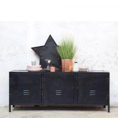 Industrie Design TV Möbel DEX Tisch Fernseh Kommode Rack Board Metall vintage schwarz