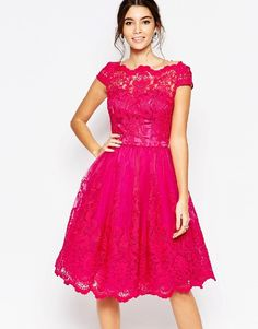 Chi Chi London Premium Lace Midi Prom Dress with Bardot Neck - Fuschia pink by: Chi Chi London @ASOS (US) rewardStyle