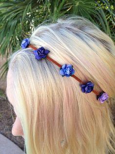 Purple Flower Headband Crown  on Etsy, $10.00
