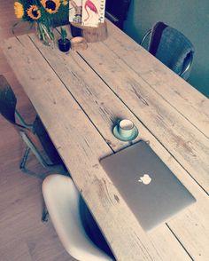 Diy** eettafel van steigerhout planken op Ikea schragen