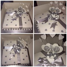 "My best friends 25th Silver Anniversary Cake.  Made by me Elena Purton. I loved making this cake, from start to finish it was a fun one to do.  A fruit cake at a whopping 14"" square. As soon as she see it she nearly cried so, I knew I'd done a good job, it tasted ""Devine"" I got so many compliments too! Very pleased indeed."
