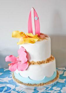 Candy and Cake - Pretty cake Pretty Cakes, Beautiful Cakes, Amazing Cakes, Luau Cakes, Beach Cakes, Hawaiian Cakes, Luau Birthday, Birthday Cake, Hawaiian Birthday
