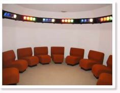 """UR Light Center, Blk Mtn, NC  The Light Room-  """"A panel of lights surrounding the room ...is programmed to shine one color at a time for five minutes. The seven colors begin with red, continue with consecutive hues of the rainbow, and end with white light.""""  """"The frequency of color brings about balance and harmony in the physical body. This enables the individual to concentrate on prayer and meditation""""    The quotes are from the website. I think of it as a lovely cleansing color light bath."""
