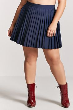 7dcba596c88 Plus Size Accordion Pleated Mini Skirt