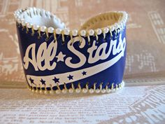 All Stars Baseball Cuff! by Lisa Kettell  Printed baseball bracelet with metal insert!
