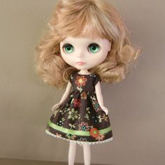 Colourful Brown and Green Summer Dress for Blythe by myfairdolly, $14.00