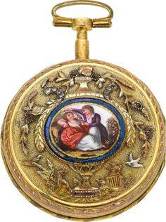 Girardier Geneva Gilt & Multicolor Verge With Enamel, circa 1800.