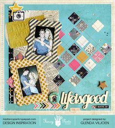 Life is Good - Scrapbook.com - stitch through squares of patterned paper to create your own argyle background.