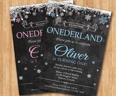 Winter ONEderland Invitation. Chalkboard. Boy or Girl Birthday Party. Snowflake bday. Christmas Birthday. Custom photo. Printable digital by arthomer on Etsy https://www.etsy.com/listing/206746462/winter-onederland-invitation-chalkboard