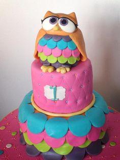 Adorable owl cake Fondant Owl Cake Topper Owl Cake birthday party