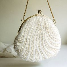 Vintage Purse Beaded Purse White or Ivory from Hong Kong