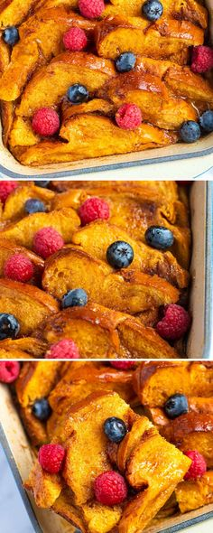 This easy baked French toast casserole is lightly spiced, slightly sweet, perfectly soft in the middle, and has a buttery crisp top. You can make this straight away or make it in advance — even overnight! Best French Toast, Pumpkin French Toast, French Toast Bake, Easy Blueberry Muffins, Baked French Toast Casserole, Easy Thanksgiving Recipes, How To Cook Mushrooms, Spiced Apples, Pumpkin Puree