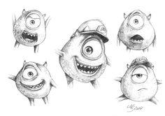 Monsters inc - Mike Wazowski - facial expressions by SarembaArt