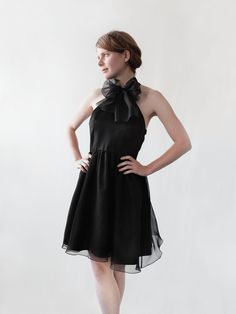 Our Luna dress is a perfect party number with a sheer layer of silk organza  and a bowtie.  Side zip, fully lined.  100% silk