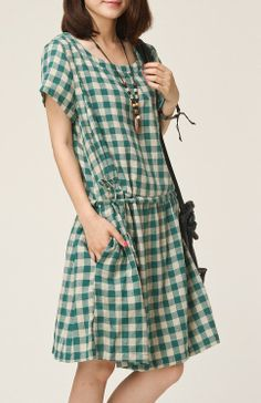 Green grid Linen dress in the style of cloth grid by ElegantGens, $56.99