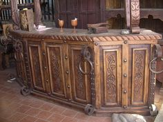 Hand crafted antique wooden bar with iron works.