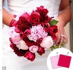 Pink Wedding Color Combos - My WordPress Website Pink Rose Bouquet, Red Bouquet Wedding, Bridal Bouquets, Burgundy Bouquet, Purple Bouquets, Tulip Bouquet, Bridesmaid Bouquets, Flower Bouquets, Purple Wedding