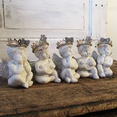 Cherub figurines w/ handmade crowns French Nordic inspired small angel figures painted white shabby cottage chic decor anita spero design