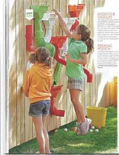 """Shoots & Giggles"" from Lowe's Creative Ideas Spring Uses vinyl gutter parts! Kids Outdoor Play, Outdoor Play Spaces, Outdoor Activities For Kids, Backyard Play, Kids Play Area, Outdoor Learning, Backyard For Kids, Backyard Games, Outdoor Fun"