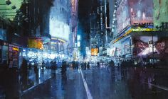 Jeremy Mann - Rooftops in the Snow Times Square Lights Ave. Night Hell's Kitchen Manhattan Nights The City Tempest The Last Light of San Francisco The Market Street Steamvent paintings by San Francisco painter Jeremy Ma New York Cityscape, Times Square, Ville New York, Photo Cubes, City Painting, Rain Painting, Watercolor Painting, Colossal Art, Art Original
