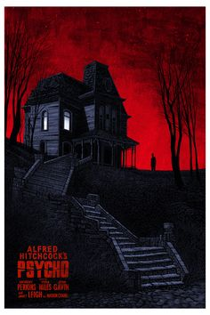 """Psycho  for Universal / Mondo  24x36"""" 7 color screenprint  edition of 375 red, edition of 220 silver  2012"""