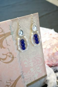 Blue and White Earrings by KaliKJewelry on Etsy, $9.50