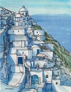 Impresión de un acuarela original de arte de Santorini Fira 1
