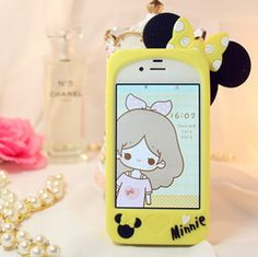 Case de silicona diseño Minnie Mouse para iphone 5 5s - Amarillo – ulollicases