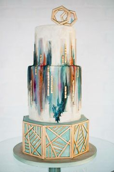 27 Refined and Bold Art Deco Wedding Cake - Hochzeit Empfang Dekor - Cake Design Beautiful Wedding Cakes, Gorgeous Cakes, Pretty Cakes, Cute Cakes, Amazing Cakes, Perfect Wedding, Geometric Cake, Geometric Wedding, Geometric Shapes