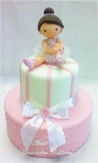 The World's Best Photos by Atelier Alessandra Caldeira Ballet Cakes, Dance Cakes, Ballerina Cakes, Fondant Figures, Fondant Cakes, Cupcake Cakes, Gorgeous Cakes, Pretty Cakes, Cute Cakes
