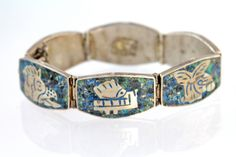 Vintage Signed Mexican Sterling Silver Malachite Azurite Chip Mosaic Bracelet
