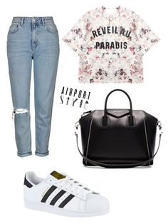 """""""Untitled #140"""" by slayfridaslay ❤ liked on Polyvore featuring Givenchy, Topshop, Momewear, adidas, GetTheLook and airportstyle"""