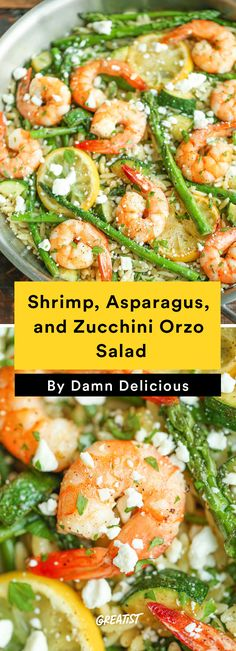 6. Shrimp, Asparagus, and Zucchini Orzo Salad #healthy #quick #dinners http://greatist.com/eat/healthy-dinner-ideas-in-30-minutes-or-less