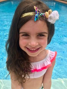 This rainbow mermaid headband is the perfect summer hair accessory for your little princess! You may choose your flower color and elastic and it's also available as a hair clip! Check out our full collection today! Party Hairstyles, Summer Hairstyles, Little Girl Models, Mermaid Crafts, Mermaid Parties, Mermaid Hair, Mermaid Birthday, Beautiful Children, Hair Pieces