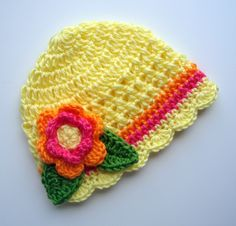 Crochet Baby Girl Beanie Hat, Crochet Flower Beanie Hat, Yellow, Hot Pink, Bright Orange, Lime Green, MADE TO ORDER by Karenisa on Etsy https://www.etsy.com/listing/54766112/crochet-baby-girl-beanie-hat-crochet