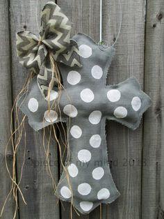 Gray Burlap Cross Burlap Door Hanger with Polka by nursejeanneg