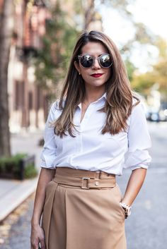 What to Wear to Work | Buckle Skirt + White Button Down