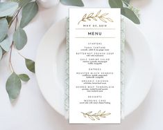 Wedding Menu Printable Menu Editale Template  by tumbalinastudio