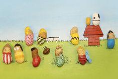 ピーナッツのスヌーピー風・落花生お絵描きアートがほのぼのしていてイイ感じです。