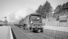 An up express for Waterloo charges through New Milton headed by Bournemouth's WC class Hampshire, UK. Hampshire Uk, Steam Railway, Merchant Navy, Bullen, British Rail, Old Trains, Battle Of Britain, Diesel Locomotive, Bournemouth