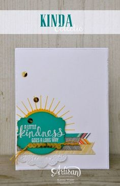 Stampin' Up! - Kinda Eclectic set- Love the sun peeking from behind the framelit. #judistamps.com