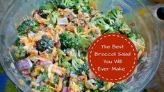 This Broccoli salad is a great addition to any potluck and you can make it ahead of time and let it chill in the fridge!